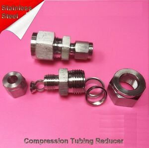 """Compression Tubing Reducer 3/8"""" to 1/4"""" OD Stainless Steel Fitting LOK FF"""