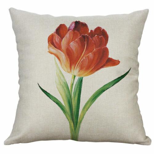 "Throw Sofa Pillow Case Home 18/'/"" Waist Tulip Decoration Flower Cover Cushion Car"
