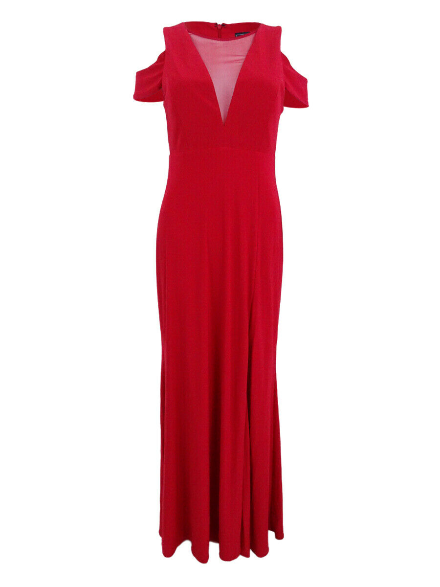 Nightway Woherren Illusion Mesh Cold-Shoulder Gown