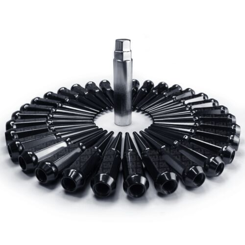 32pc Black Steel Spike Lug Nuts 14x1.5 fit Cummins Super Duty Power Stroke 8BK5