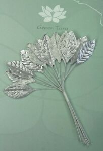 SILVER-Metallic-LEAVES-18x33mm-x-1-2Leaves-with-Wire-Stems-Green-Tara