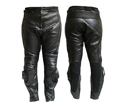 Dettagli su Pantalone Moto in Pelle JF Pelle mod. 9200 Nero