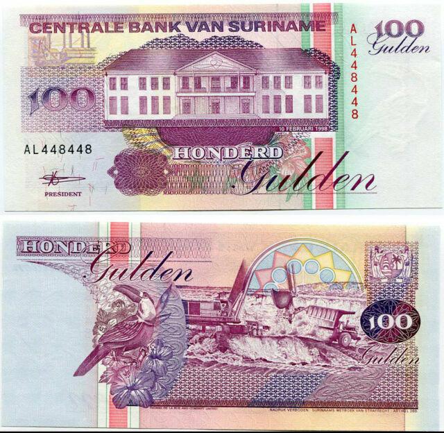 SURINAME 100 Gulden 1998 Pick 139b UNC