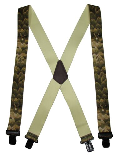 New Men/'s Elastic Clip-End 2 Inch Whitetail Deer Suspenders USA Made