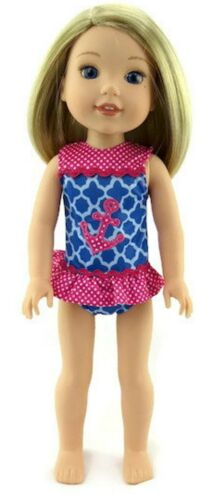 "Blue /& Pink Anchor Swimsuit for 14.5/"" American Girl Wellie Wishers Doll Clothes"