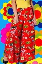R18 bunte 70er Jahre Hippie Blumenkinder Indian Gipsy Schmetterling Hose Palazzo