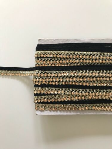 ATTRACTIVE BRAIDED BLACK /& GOLD VALOUR CRYSTALS LACE TRIM SOLD by METRE