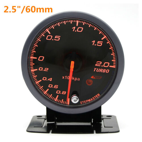 12V Car Boost Gauge 2.5/'/'60mm LED Turbo Boost Meter Gauge Black Shell 270° Sweep