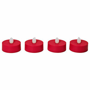 ikea strala teelichter led in rot 4 st ck 6 cm weihnachten dekoration kerzen neu ebay. Black Bedroom Furniture Sets. Home Design Ideas