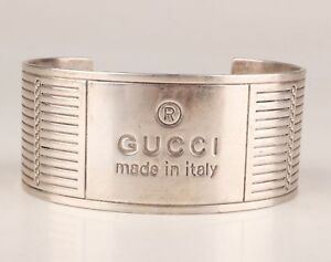 Italy-Pre-owned-039-GUCCI-039-bracelet-bangle-925-Sterling-Silver-early-2000-design