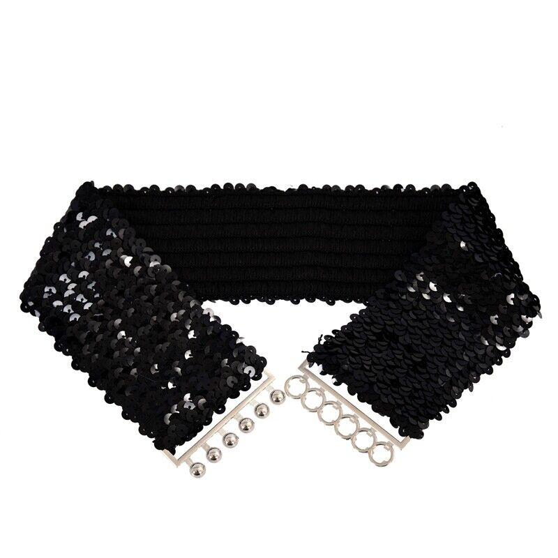 Black New Lady Fashion Sequins Elastic Stretch Shinning Waist Band Casual B L4D7