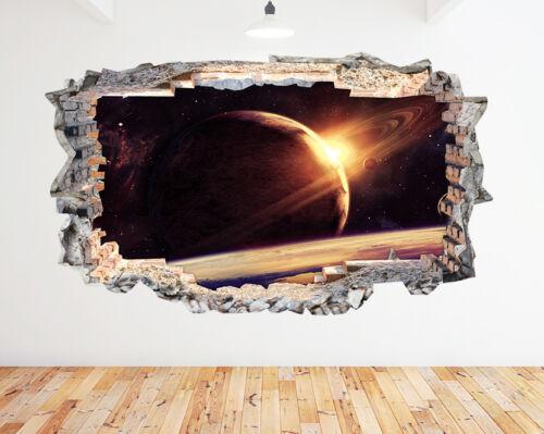 K081 earth space lune planètes garçons applique murale poster 3D art stickers vinyl chambre