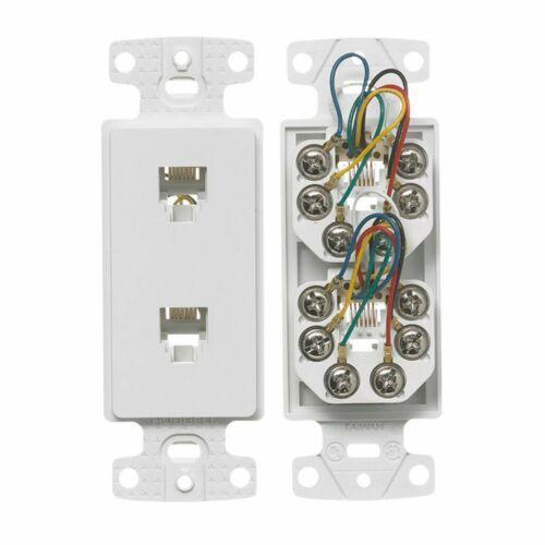 Hubbell Dual Phone Jack RJ11 Decorator Insert White NS770WZ