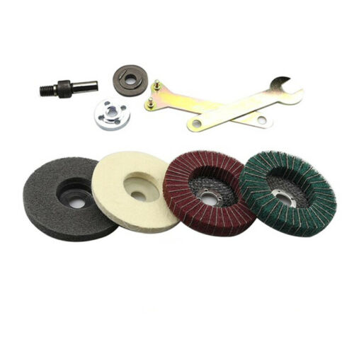 5x Stainless Steel Polishing Kit For Angle Grinder Flap Disc Buffing Accessory