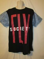 Mens Fly Society T-shirt Xl Black With Blue Poly Sleeves
