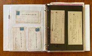 US-Excellent-assortment-of-OLD-Bank-Checks-Revenue-Stamps-Stocks-Postcards