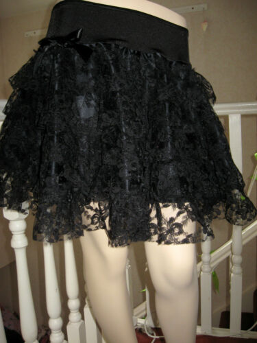 New Gothic Black red white burgundy Lace tiered Rara skirt Lolita Wedding Party