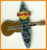 "Hard Rock Cafe TOKYO 1998 ""Pray 4 Surf"" SURFBOARD Guitar PIN HRC Catalog #10136"