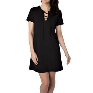 Details About Eight Sixty 98 Black Ponte Lace Up Front Mini Above Knee Casual Dress Sz S Nwt