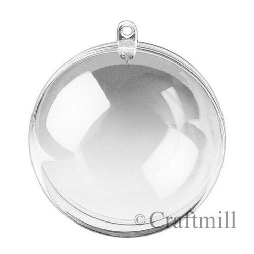 2-Partie SPHERES boules Faveurs Mariage Noël Plastique Transparent Craft Balls