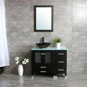 Image Is Loading 36 034 Black Bathroom Vanity Cabinet Glass Sink