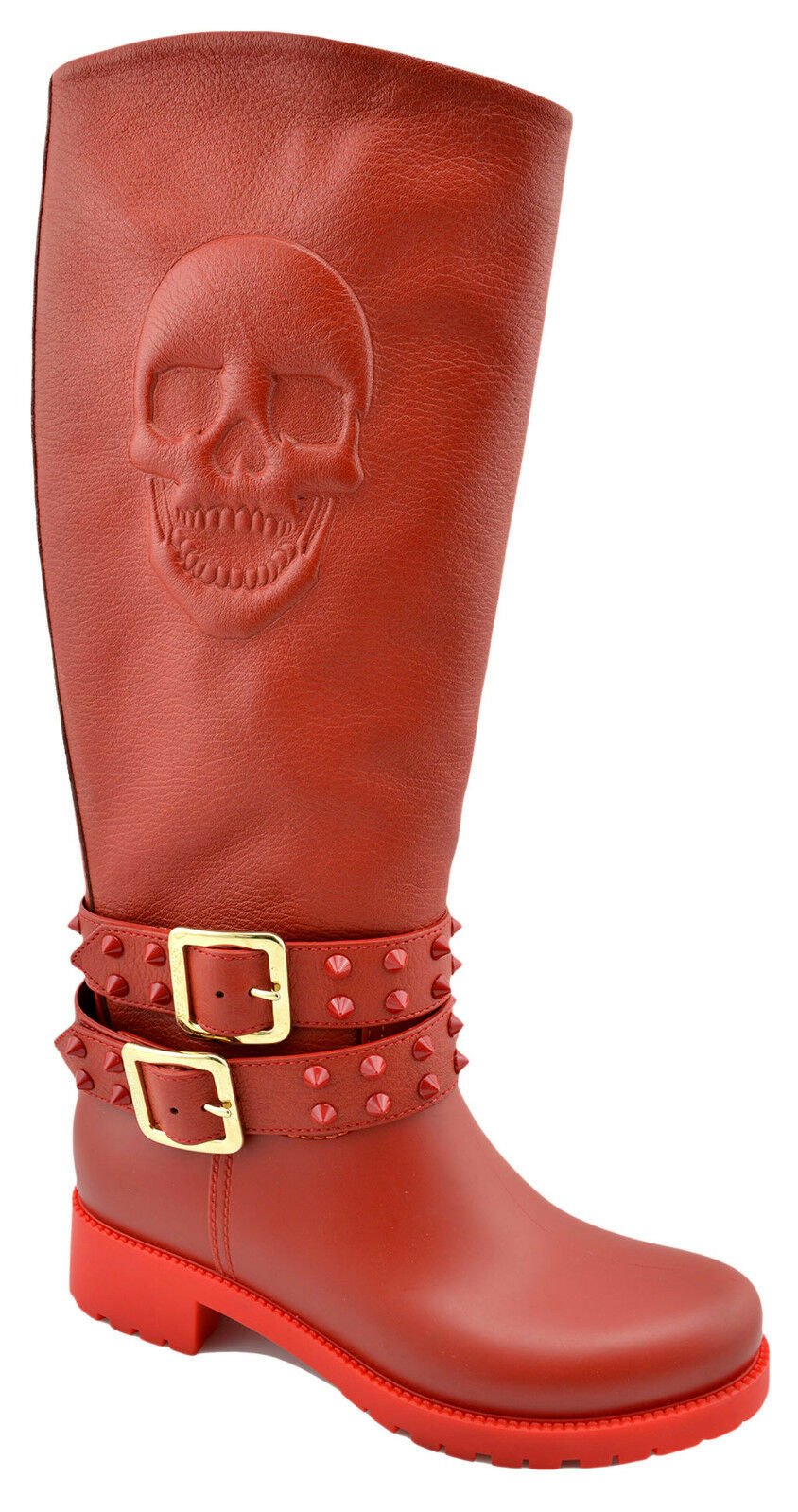 950 PHILIPP PLEIN rouge Rubber Leather AFTER YOU Skull Rainproof Knee bottes 39 9