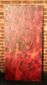 Bayo-Iribhogbe-034-Gathering-034-Orig-30x60-034-Oil-Canvas-Palette-Knife-Painting-Signed