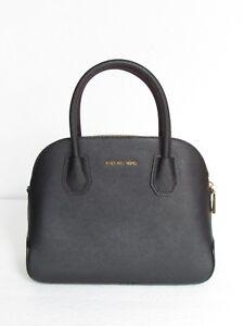 NEW-Michael-Kors-Cindy-Dome-Saffiano-Black-Leather-Medium-Pocket-Satchel