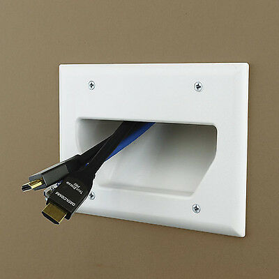 3-Gang Recessed Cable Wall Mount Plate Low Voltage Flat Panel TV Audio Cables