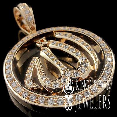 ARABIC ALLAH GOD CHARM PENDANT MEDALLION REAL LAB DIAMOND 18K YELLOW GOLD FINISH