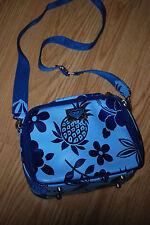 ROXY Navy aqua blue zip logo Lunch box cross body bag purse Insulated flowers