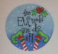 Handpainted Needlepoint Canvas Funda Scully Elf Made Me Do It Ornament V2