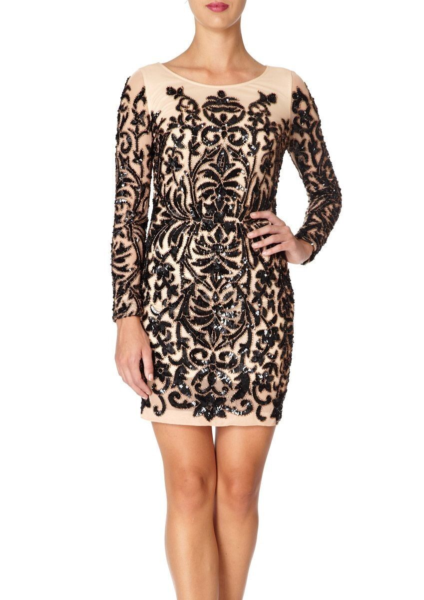BNWT Forever Unique Hollies Heavily Embellished Illusion Shift Dress UK8 RP