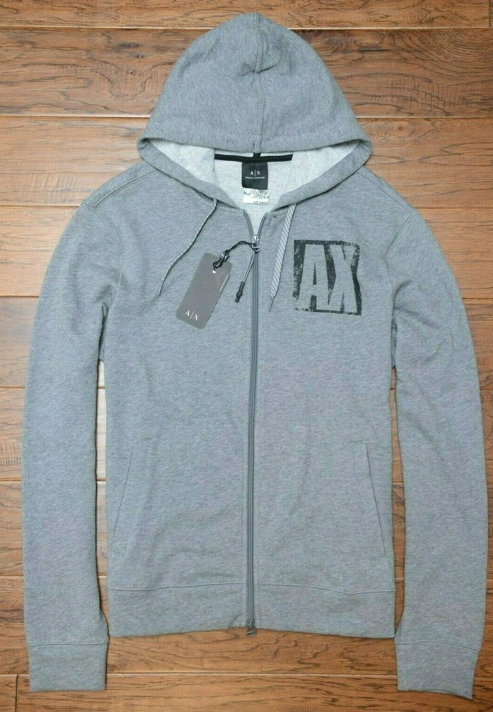 Armani Exchange A X Men's Full Zip Light Gray Cotton Hooded Jacket Hoodie M