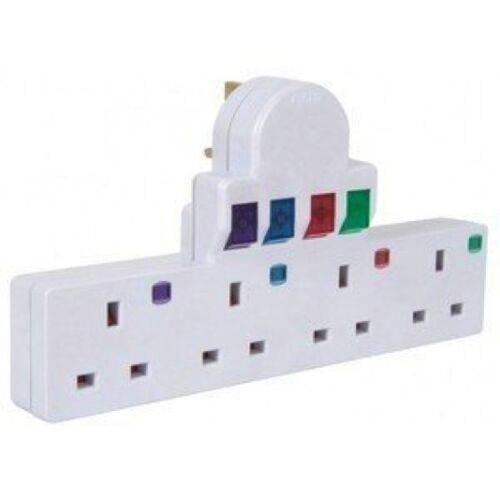 4 Way Gang Switched Surge /& Spike Protect Adaptor Multi Socket Plug in Extension
