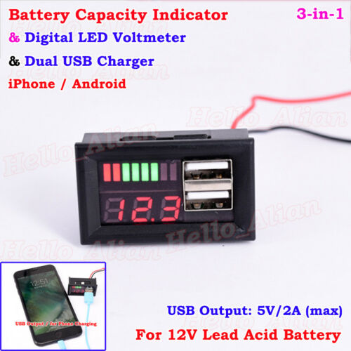 LED Lead Acid 12V Battery BMS Capacity Indicator Voltage Meter Dual USB Charger