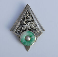 Ancienne broche Chine argent jade antique Chinese silver carved dragon brooch