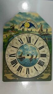 HANDPAINTED-REPLACEMENT-DIAL-LARGE-DUTCH-FRIESIAN-TAIL-OR-SCHIPPERTJE-WALL-CLOCK