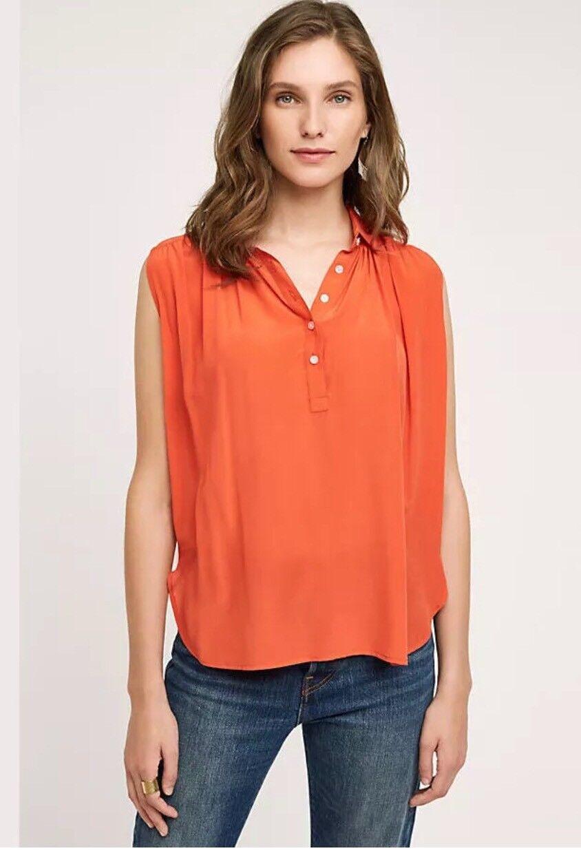 Anthropologie Maeve Womens Top Small orange 100% Silk Haddie Blouse New