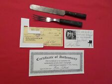 JH LONE RANGER OWNED ANTIQUE KNIFE & 3 TINE FORK w AUTOGRAPHED CHECK