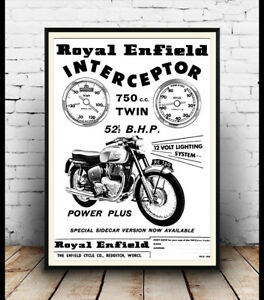 Details about Royal Enfield Interceptor, Vintage Motorcycle advertising  poster reproduction