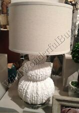 "Stacked Table Lamp White Coral 28"" Beach Reef Coastal Decor Sea Shell Urchin"