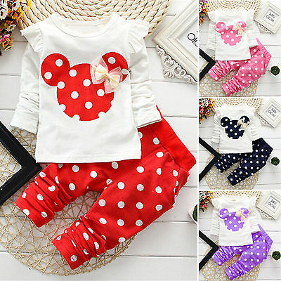 Mickey Baby clothes kids girls  tops+pants Set Outfits autumn clothing dot AA