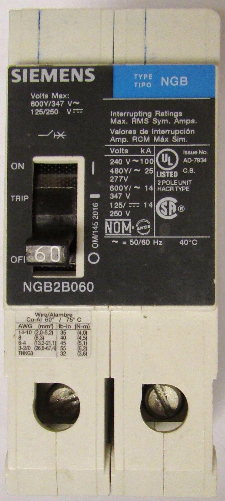 SIEMENS NGB NGB2B060 2 POLE 60 AMP 480V CIRCUIT BREAKER ITE