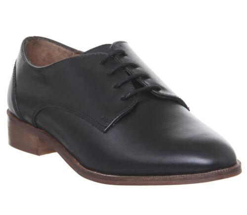 Femme Bureau peur Vintage Lacets Chaussures en cuir noir Flats