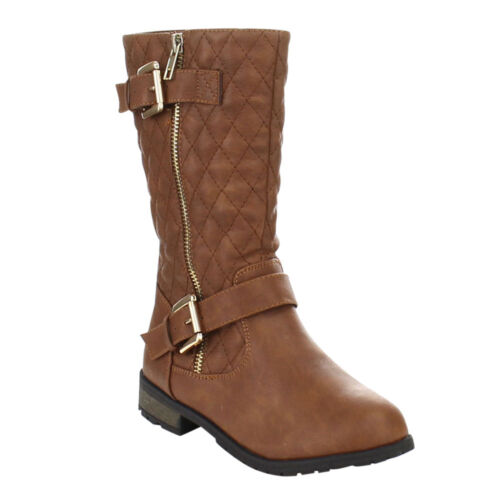 AZAM Man-25KK Little Girls MidCalf Diamond Quilted Equestrian Style Boots Tan