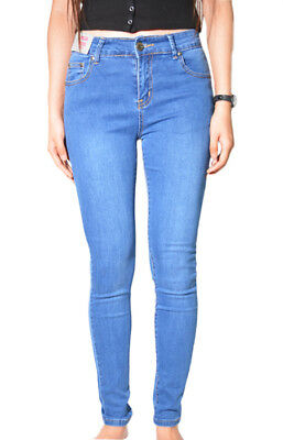SIZE 6-16 WAKEE ELECTRIC BLUE HIGH RISE SKINNY LEG JEANS