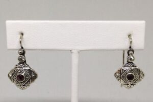VTG-Sterling-Silver-925-Amethyst-amp-CZ-Stones-1-1-8-034-Hook-Earrings-New-Old-Stock