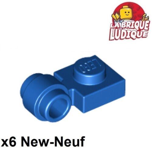 Lego x6 Plate Modified 1x1 clip ring trou anneau bleu//blue 4081b NEUF