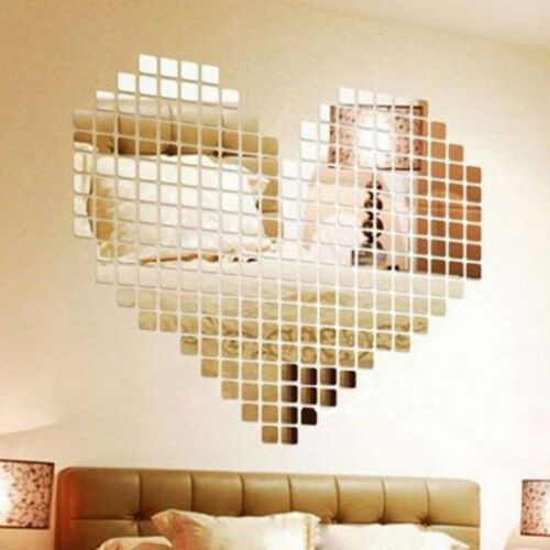 100PCS Square Mirror Tile Wall Stickers 3D Decal Mosaic Home Room Decor 2*2cm US